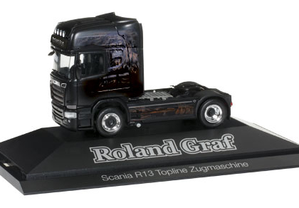 """Scania R 2013 rigid tractor """"Roland Graf / Black Magic"""" - Herpa 110730"""