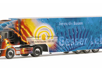 "Scania 144 TL box semitrailer ""LBS"", PC Herpa 120111"