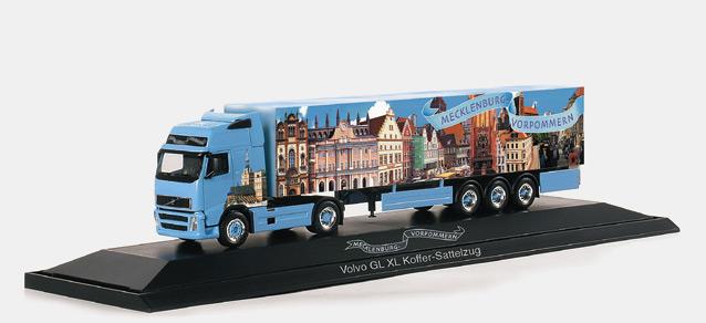 """Volvo FH XL box semitailer """"Mecklenburg West-Pommerania """" Herpa 120272 1"""