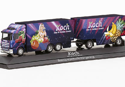 "Koch Scania 124 refrigerated box trailer ""Koch"" herpa 120326"