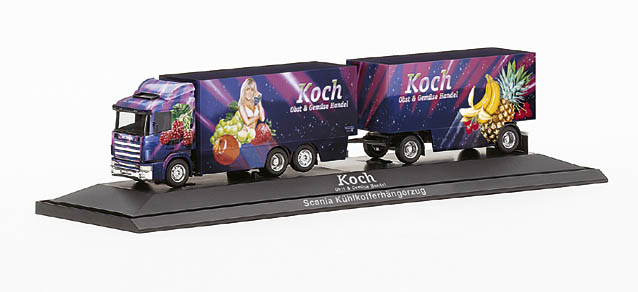 "Koch Scania 124 refrigerated box trailer ""Koch"" herpa 120326 1"