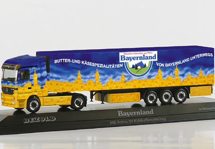 """Mercedes-Benz Actros LH refrigerated box semitrailer """"Bayernland"""", PC Herpa 120401"""