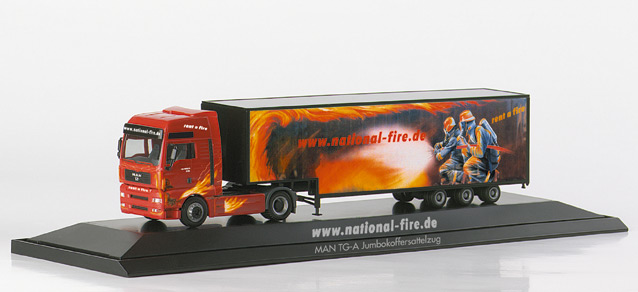 "MAN TGA XXL Jumbo box semitrailer ""National Fire"", PC Herpa 120418"