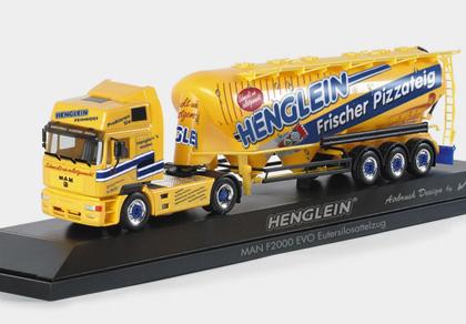 Henglein MAN F2000 Evo bulk silo semitrailer  PC Herpa 120500