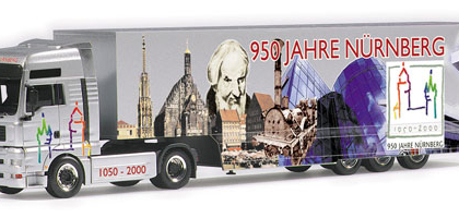 "MAN TGA XXL box semitrailer ""950 Jahre N?rnberg"" Herpa 146401"