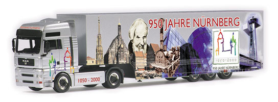 "MAN TGA XXL box semitrailer ""950 Jahre N?rnberg"" Herpa 146401 1"