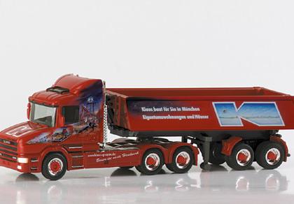 """Scania conventional dumpable semitrailer """"Klaus Bau"""" Herpa 148306"""