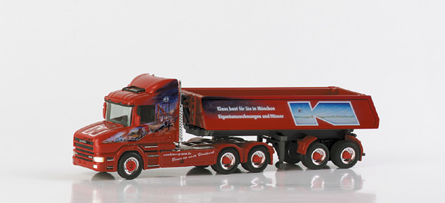 """Scania conventional dumpable semitrailer """"Klaus Bau"""" Herpa 148306 1"""