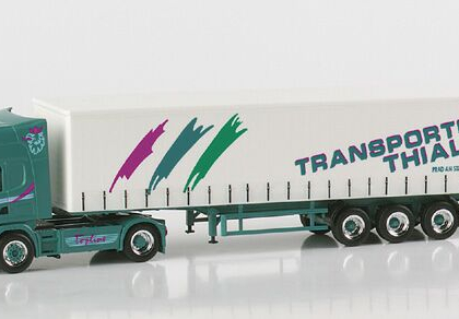"Thinner Scania 164 TL curtain trap semitrailer ""Thialer""(Italy) Herpa 148443"