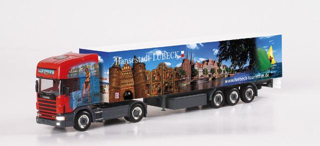 """Scania TL box semitrialer """"L?beck-Truck"""" Herpa 150170"""