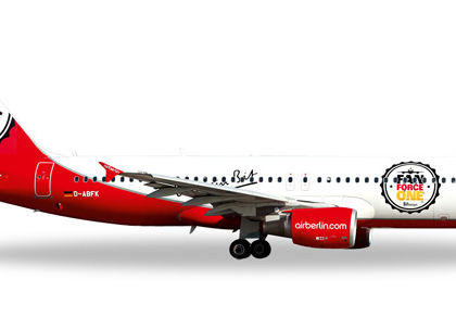 "airberlin Airbus A320 ""Fan Force One"" - Herpa 526920"