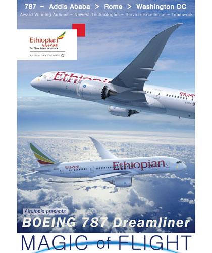 Magic Of Flight: Boeing 787-8 Cockpit Ethiopian Airlines Washington Dc - Rome - Addis Ababa DVD