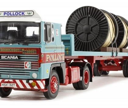 """""""Pollock (Scotrans) LTD, Bathgate, Scotland"""" Scania 111 2 Axle Flatbed Trailer & Load  - Corgi Collectables CC15309"""