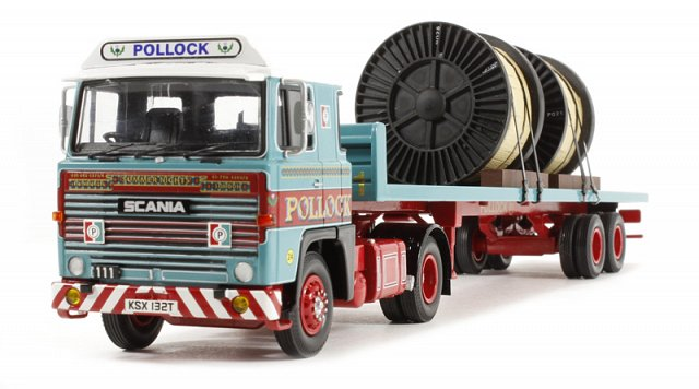 """Pollock (Scotrans) LTD, Bathgate, Scotland"" Scania 111 2 Axle Flatbed Trailer & Load  - Corgi Collectables CC15309"