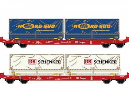 DB Cargo Sgkkms698 Container Wagon Set (2) VI - Hobbytrain (by Lemke) H23761
