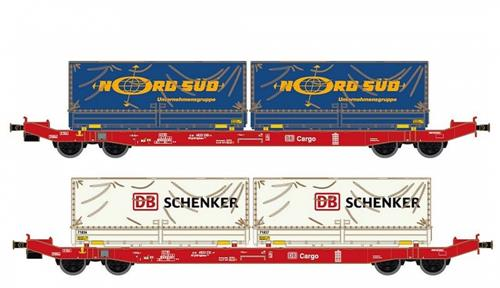 DB Cargo Sgkkms698 Container Wagon Set (2) VI - Hobbytrain (by Lemke) H23761