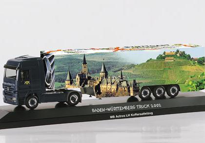 "Mercedes-Benz Actros LH box semitrailer ""Baden-Wuerttemberg"" - Herpa 120258"