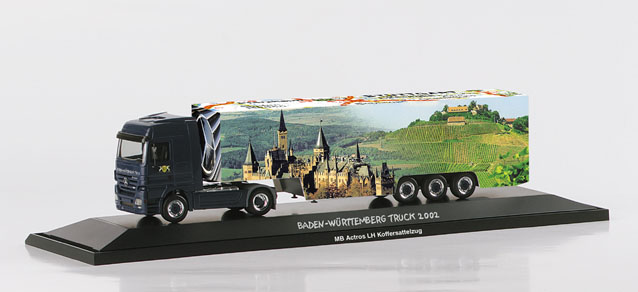 "Mercedes-Benz Actros LH box semitrailer ""Baden-Wuerttemberg"" – Herpa 120258 1"