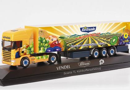 "Scania TL refrigeated box semitrailer ""Vendel/Rio Grande"", PC - Herpa 120531"