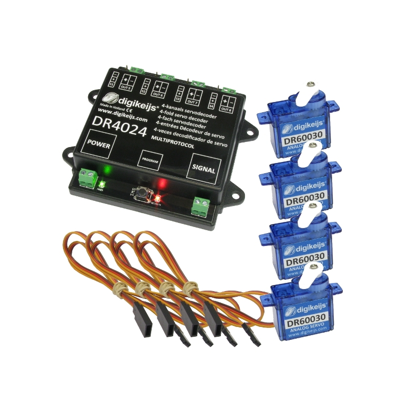 Digikeijs DR4024Box Complete set including 1x servo decoder, 4x mini servo  and 4x 50cm extension cable
