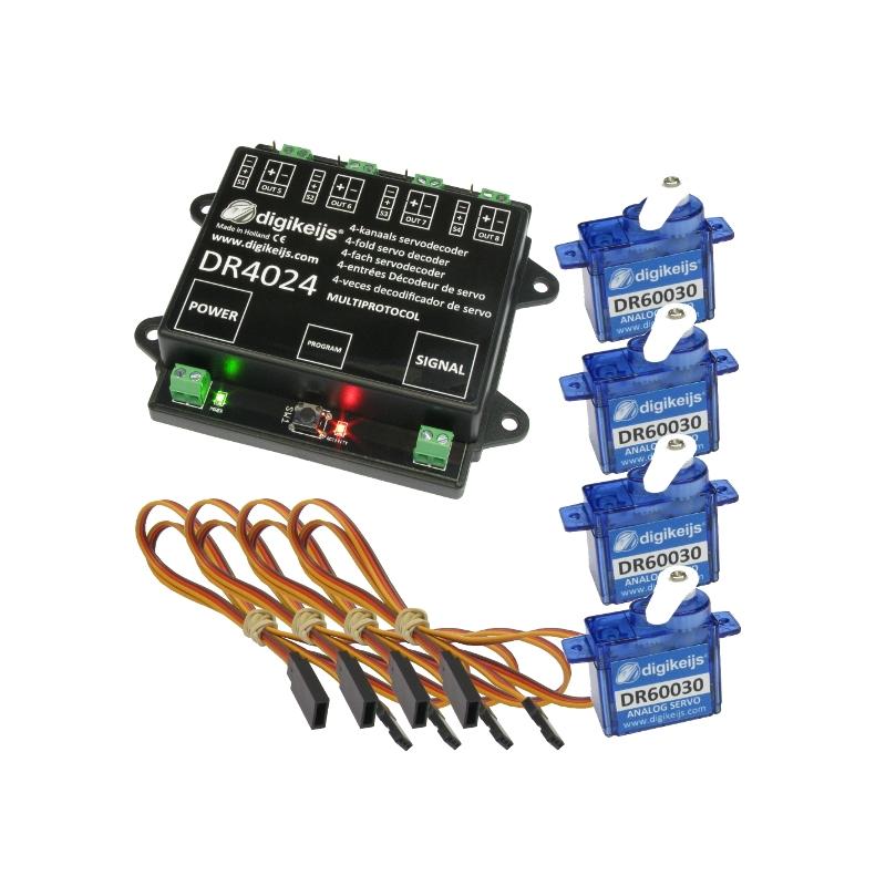 Digikeijs DR4024Box Complete set including 1x servo decoder, 4x mini servo  and 4x 50cm extension cable